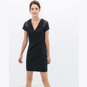 ZARA V-Neck Dress with Faux Leather Details